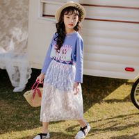 KS0095 Nice print fancy girls lace skirt suit long children skirt suits