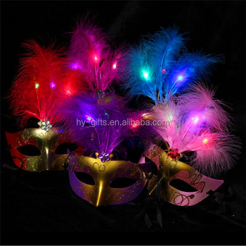 2019 New Style Party Feather LED Masks Mardi Gras Masquerade Mask for Cosplay Fancy Dress Party
