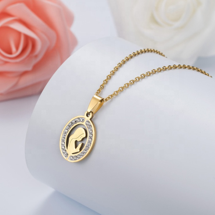 Religious christian jewelry gold plated virgin mary style cheap wholesale stainless steel maria necklace for women