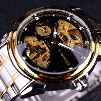 Winner Brand Luxury Mechanical Golden Men's Watches Stainless Steel Vintage Skeleton Dial Men Automatic Wrist Watches Reloj