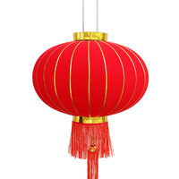 Meilun Chinese Traditional Red Silk Lanterns new design new years Flocking cloth lantern for spring festival