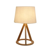European Bedroom Decor Natural Wooden Circle Ring Leg Tripod Table Lamp