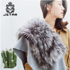 Janefur Autumn Real Fox Fur Scarf Shawl Women Wool Cashmere Cape Silver Fox Fur Pashmina Shawl Cape