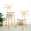New Designed Iron Bar Stools Hotel Bow-knot Back High Bar Chair Home Nordic Veletg Seat High Chair Back G800231