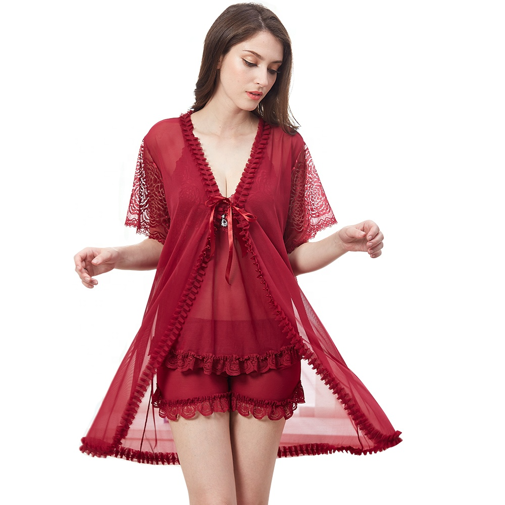 Hot Sexy Girls See Through Lingerie Sexy Lingerie Robe Lace Babydoll Chemise Sleepwear Set Nighty Sexy Lingerie фото