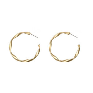 2018 Korean Fashion S925 Silver Needle Creative Simple Gold White Gold Copper Personality Geometric Matte Earrings