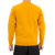 Custom make gold yellow color man pullover sweater flocking knitting line pattern ripple ribs crew neck brand trendy men sweater