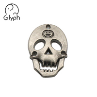 Clothing hardware bag accessories western metal skull logo tag label sticker for jeans