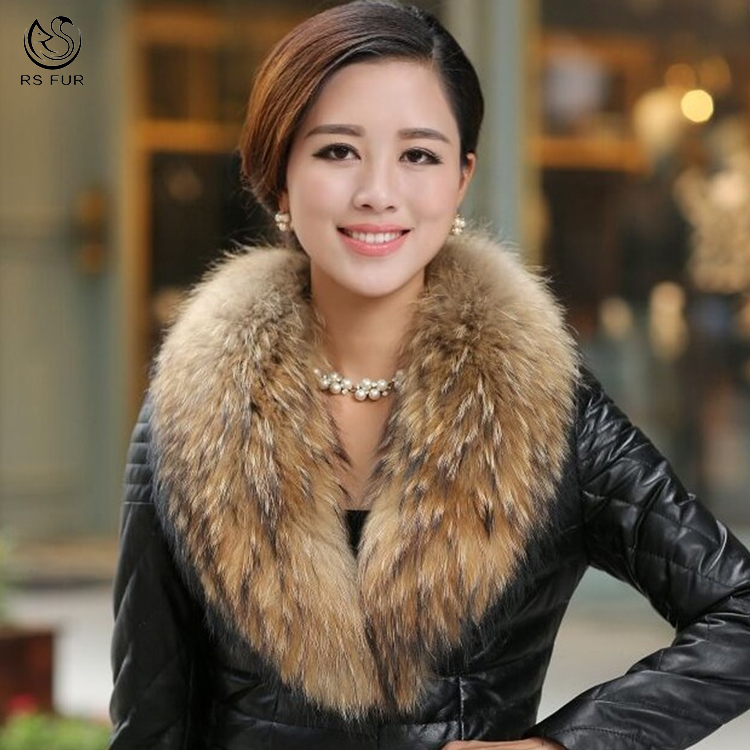정품 Luxury 솜 털 Real 라쿤 퍼 워커를 Fur Collar 대 한 Women Down Leather Jacket Coat