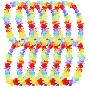 V-1076 Rainbow Colour Garland Hawaiian Necklace Artificial Flowers Leis For Decoration