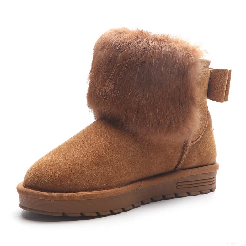 75fcc5e3743 2019 nuevo de gamuza de cuero genuino de las mujeres de invierno nieve botas  de piel