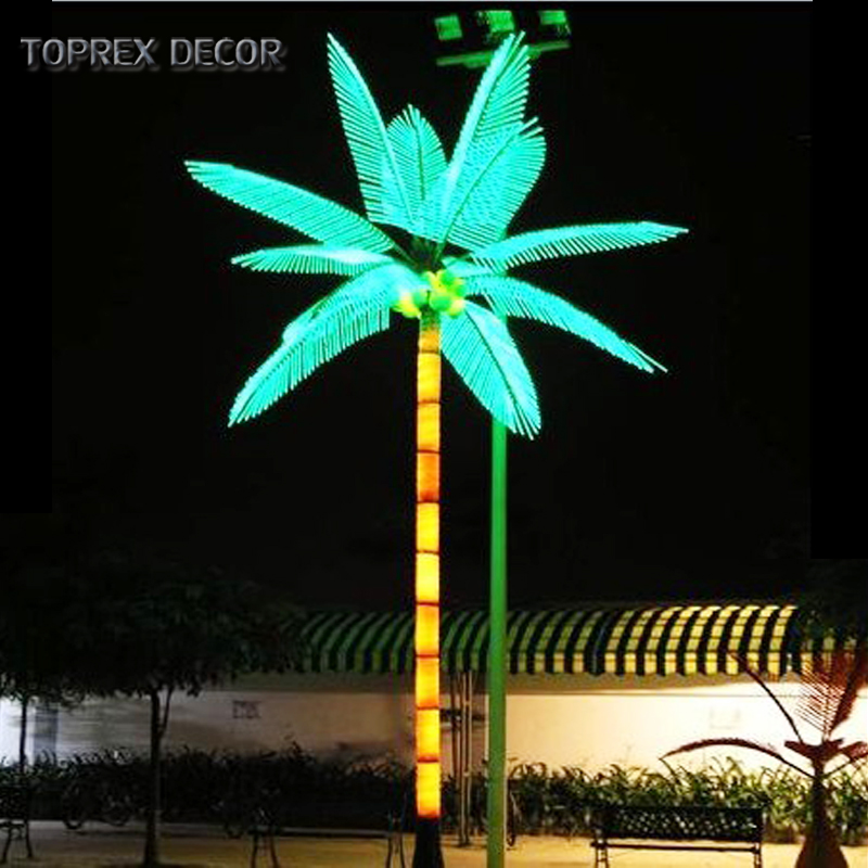 2019 Hot sale outdoor customized artificial flash led coconut palm tree leaves lights