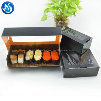 Take out disposable food sushi paper packaging box with window
