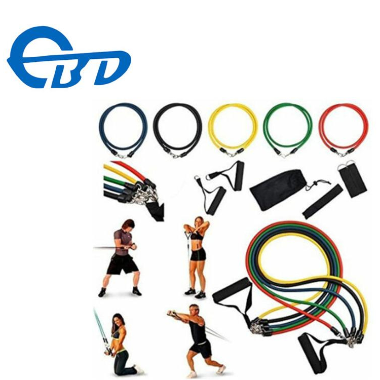 11 PCS Weerstand Oefening Band Set Yoga Pilates Abs Fitness Tube Workout Bands