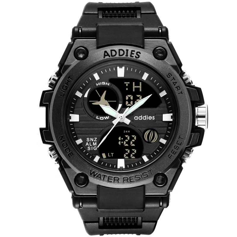 Zwart Tactische Waterdichte Outdoor Dual Display Mannen Militaire Horloges