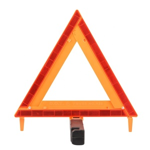 Car road safety tripod warning sign vehicular car towing reflective warning triangle dot distance from car
