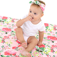 Newborn Baby Stretchy Wrap Photo Props Wrap Floral Swaddle Blanket Muslin Blanket Headband Set Baby Swaddle Receiving Blankets
