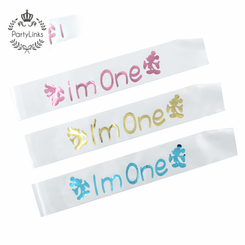 Lovely Mickey Mouse I Am One Satin Sash For Baby 1st Birthday Party Supplies