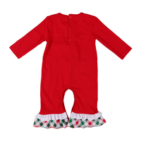 boutique printed red kids' jumpsuit with buttons long sleeves children girls' clothing