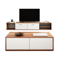 Modern Living Room Furniture Wood Tea Coffee Table and TV LCD Screen Cabinet Riser Shelf Stand Set