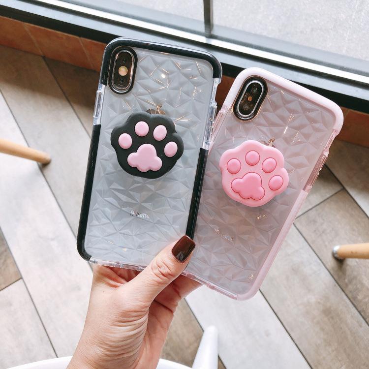 Kitty Cartoon Diamond Super Cute Cat Claw Clear soft case for iphone 7 Plus 8 Plus 7 8 6 6s Plus