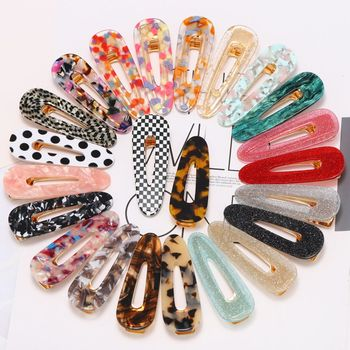 2019 Lovely Daily Wear Accessories Korea Style Colorful Acrylic Acetate Hair Clip For Women And Girls