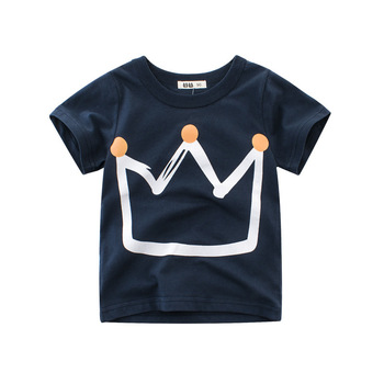 Fashion 2018 clothing boy t-shirt with crown pattern Korean version 2019 summer new boys short sleeve