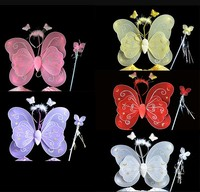 Wholesale Kids Halloween Performance Costume Girls Fairy Butterfly Wings With Headband And Skirt