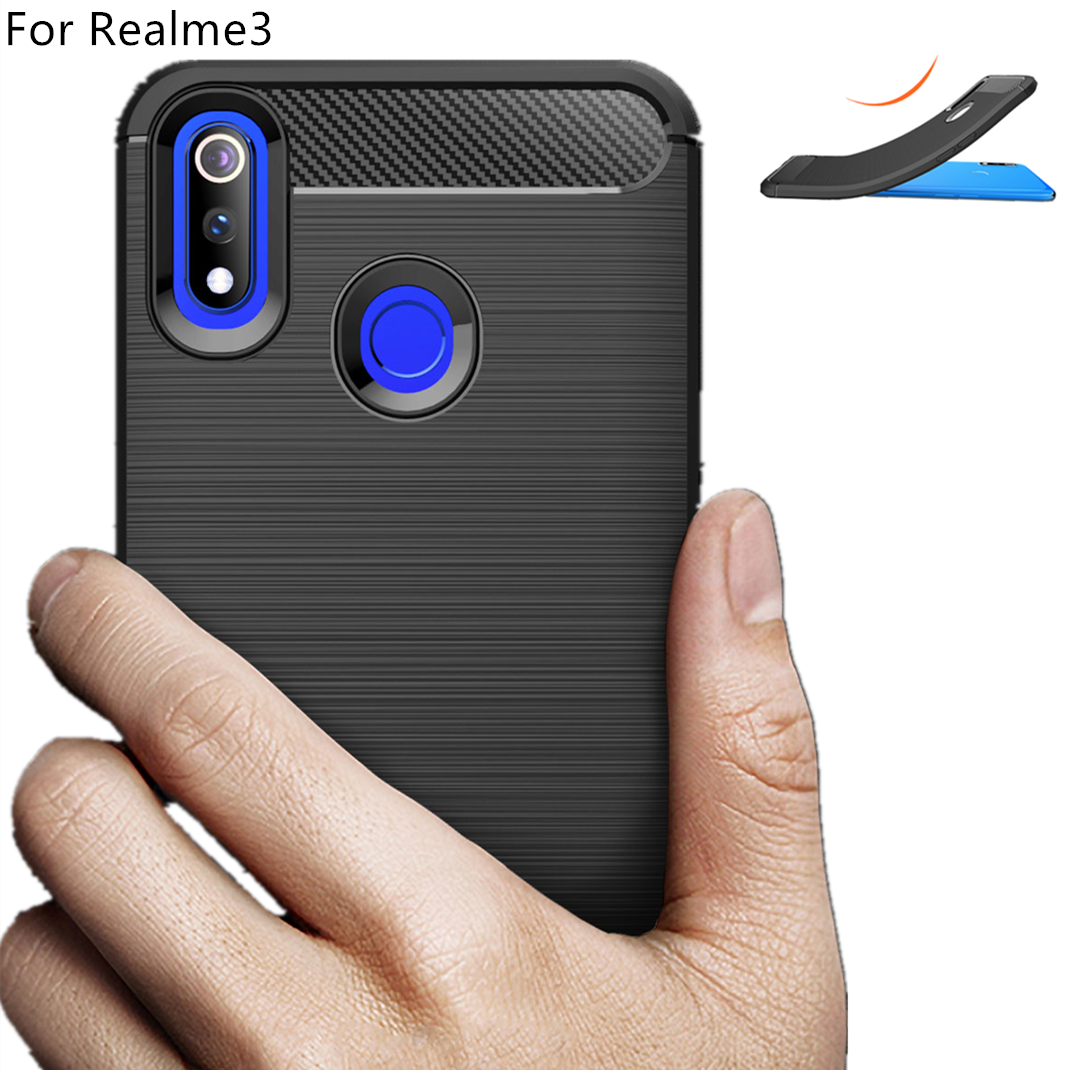 NEW design for OPPO Realme 3/Reno soft brushed TPU Carbon fiber cell phone cases shockproof back cover for F11/F11PRO wholesales фото