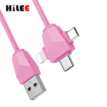 USB Type C Cable 3 in 1 Multiple Charging Cable with Type C/8 Pin /Micro USB Connector for iPhone 7/6/5