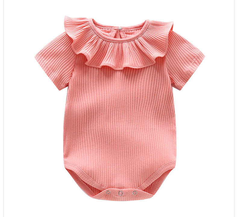 Summer Short Baby Romper Ruffles Collar Cotton Knitted Jumpsuit Infant Ribbed Cute Baby Girl Clothes Newborn Overalls Body Suits фото