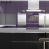 Purple kitchen cabinet design applying gloss cabinet among silver refrigerator