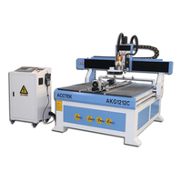 Low price automatic metal cutting plasma cnc machine two heads cnc router with linear atc tools