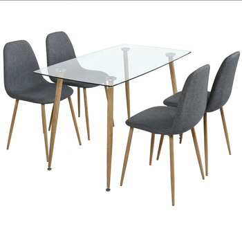 Factory Direct Sale Modern Glass Dinning Table Set And Chairs