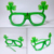 St Patricks Day Plastic Green Shamrock Flashing LED Glasses