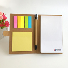 Kraft abdeckung individuelles <span class=keywords><strong>logo</strong></span> druck sticky notes memo pad <span class=keywords><strong>mit</strong></span> stift