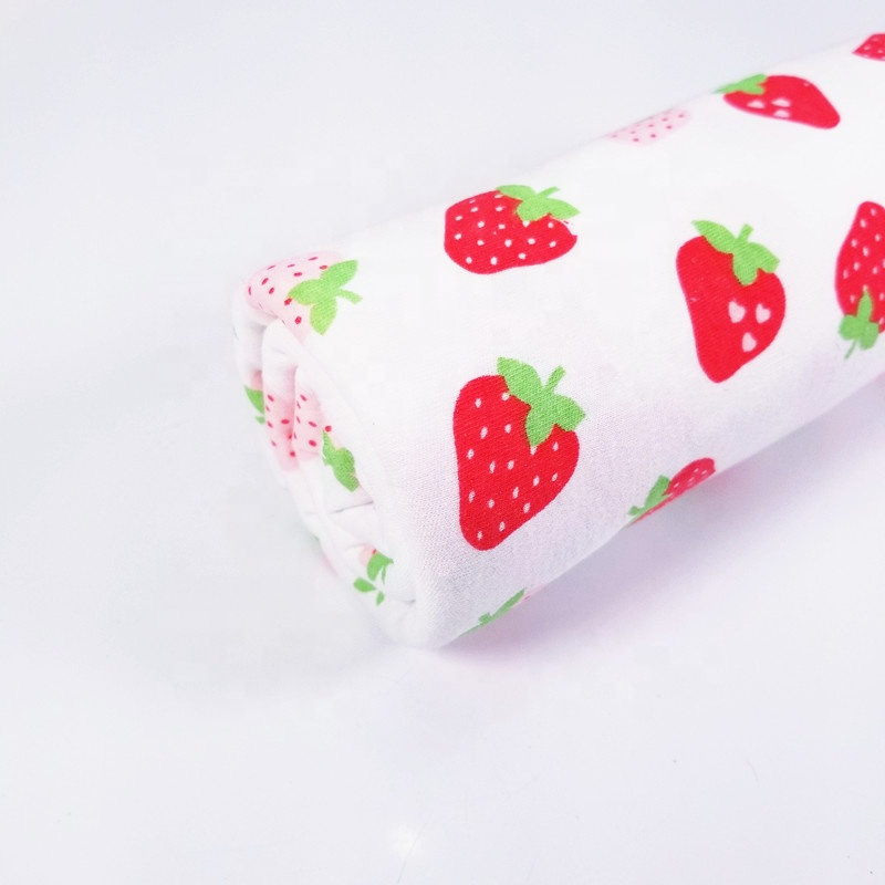 Strawberry printed baby bed Sheet cotton jersey knitted Fabric for Clothing material