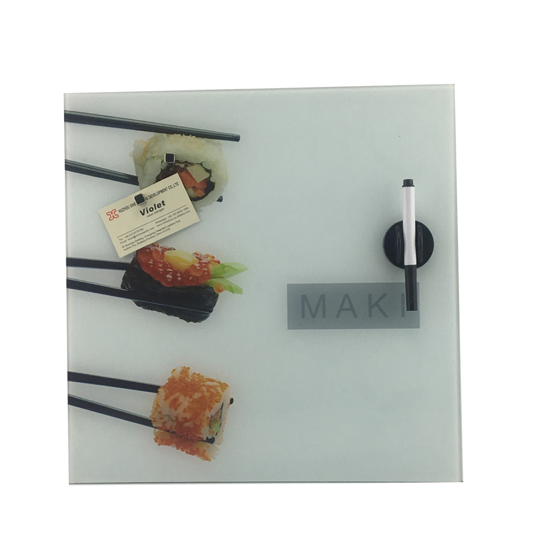 Kitchen Wall Mounted Clear Tempered Magnetic Glass Writing Message Board