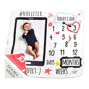 Double Sided First Year 47x47 Premium Soft Fleece Newborn Baby Monthly Milestone Blanket for Boys or Girls