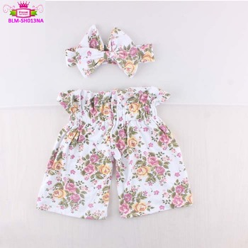 Wholesale boutique baby bread pants children's girls floral shorts elastic infant high waist cute printing shorts