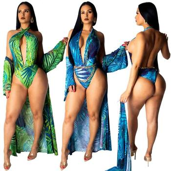 Factory Print Swimsuit And Ponchos Cover Up 2 Piece Set Women Swimwear