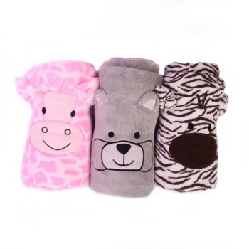 2019 wholesale custom soft plush faux fur coral fleece cute cartoon animal swaddle baby blanket