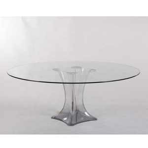 wholesale clear acrylic glass wedding round dining table for sale