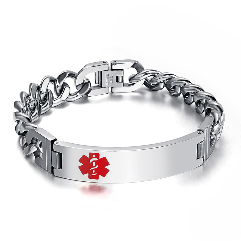 Free Engrave Emergency Medical Bracelets for Men Women Alert ID Bracelets for Adults Titanium Steel Medical Alert Bracelets фото