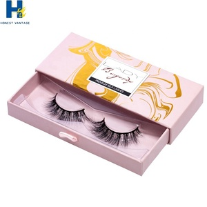 custom false private label rose gold pink circle mink packaging box eyelashes
