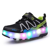 Kids Two Wheels Shoes with Lights Rechargeable Roller Skates Shoes