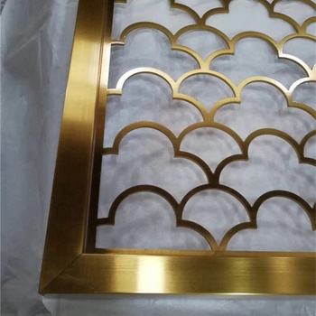 brass PVD  brushed  stainless steel decorative screen laser cut wall panel for hotel restaurant decoration