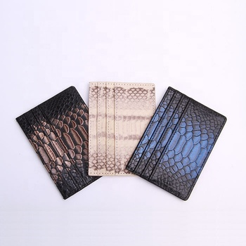 Fake python leather credit card holder real calfskin atm card holder wallet