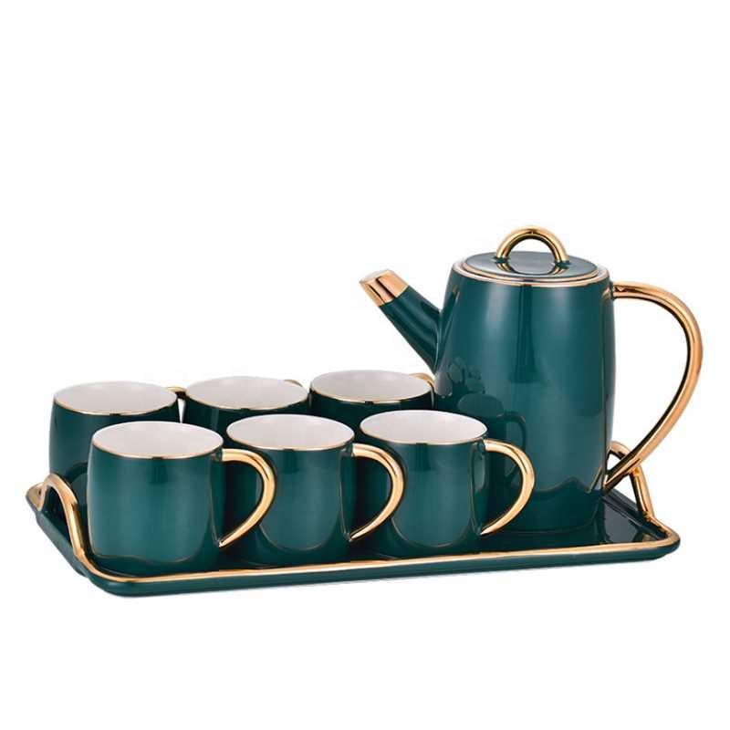 Avrupa turkuaz renk lüks modern kahve çay fincanı setleri tepsi porselen çay seti demlik ile