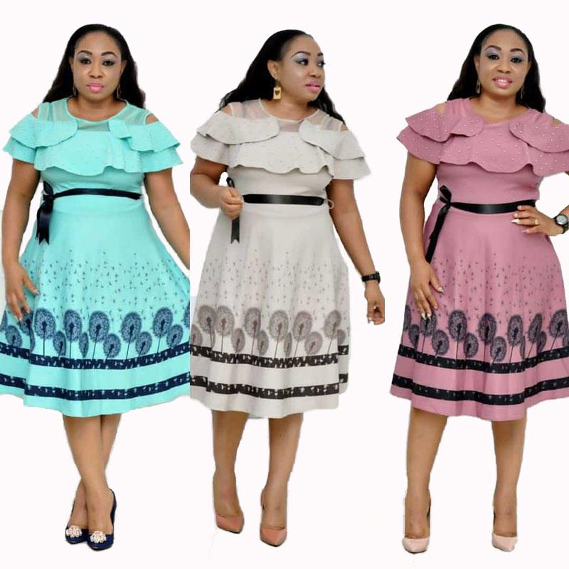 90428-MX19 3 Colors Ruffles Sleeve Beaded Plus Size Dresses Women фото